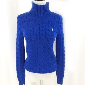 Ralph Lauren Sport blue cable knit turtleneck S